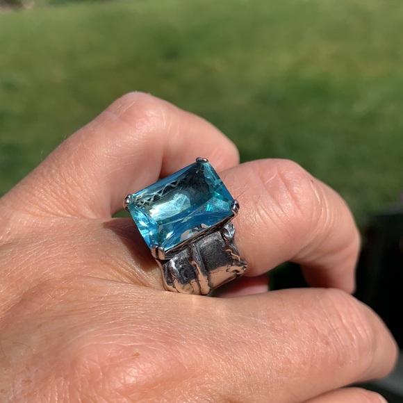 Silpada aqua blue glass sterling silver ri…